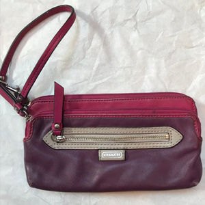 Coach Brown Red Wristlet